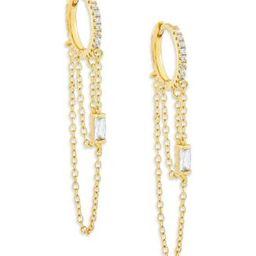 Baguette Cubic Zirconia & Chain Drop Huggie Hoop Earrings | Bloomingdale's (US)