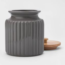 84oz Stoneware Ribbed Food Storage Canister with Wood Lid Gray - Threshold™ | Target