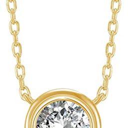 PAVOI 14K Gold Plated 1.00 ct (D Color, VVS Clarity) CZ Simulated Diamond Bezel-Set Solitaire Cho... | Amazon (US)