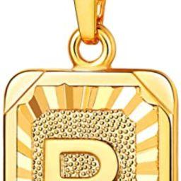 U7 Monogram Necklace A-Z 26 Letters Pendants 18K Gold/Platinum Plated Square Tiny Initial Necklac... | Amazon (US)