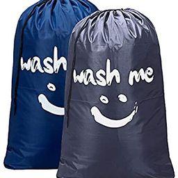 HOMEST 2 Pack XL Wash Me Travel Laundry Bag, Machine Washable Dirty Clothes Organizer, Large Enou... | Amazon (US)