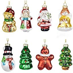 Ecosides Pack of 8 Painted Glass Figurine Christmas Ornaments Hanging Ornaments for Christmas Tre... | Amazon (US)