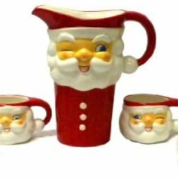 Tinsel Town Vintage-style Winking Santa Ceramic Pitcher & Cups Set of 5   Amazon (US)