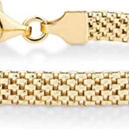 Miabella 18K Gold Over Sterling Silver Italian 5mm Mesh Link Chain Bracelet for Women 6.5, 7, 7.5... | Amazon (US)