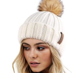 FURTALK Womens Winter Knitted Beanie Hat with Faux Fur Pom Warm Knit Skull Cap Beanie for Women | Amazon (US)