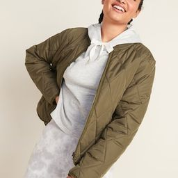 Diamond-Quilted Zip Jacket for Women | Old Navy (US)