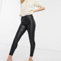 Stradivarius petite coated push up skinny jeans in black   ASOS (Global)