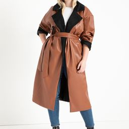Colorblocked Faux Leather Coat - Cognac + Totally Black   Eloquii