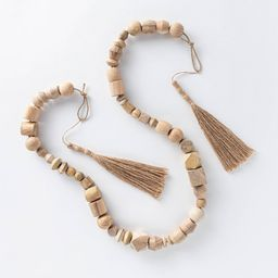 """96"""""""" Decorative Wooden Bead Garland Natural - Threshold designed with Studio McGee   Target"""
