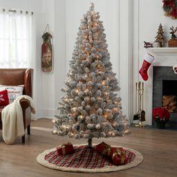 Holiday Time Pre-Lit Flocked Frisco Pine Christmas Tree, 6.5', Clear | Walmart (US)