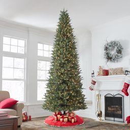 Holiday Time Pre-Lit Rockford Sure-Lit Pole Slim Pine Artificial Christmas Tree, Clear Lights, Gr... | Walmart (US)