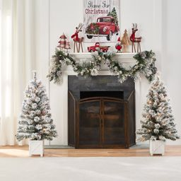 Holiday Time Pre-Lit Flocked Potted Tree Christmas Decoration, Set of 2, Warm White | Walmart (US)