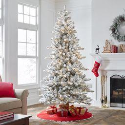 Holiday Time Pre-Lit Flocked Birmingham Fir Artificial Christmas Tree, Warm White LED Lights, Gre... | Walmart (US)