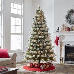 Holiday Time Pre-Lit Flocked Sparkling Pine Artificial Christmas Tree, Clear Lights, Green, 7.5' | Walmart (US)