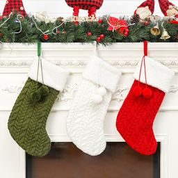 Classic Christmas Knit Stockings, 17 inches Large Size Cable Knitted Xmas Stockings, Rustic Perso...   Walmart (US)