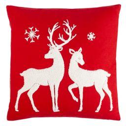 "Safavieh Mitzi Christmas Reindeer 18"" x 18"" Decorative Holiday Pillow   Walmart (US)"