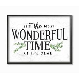 Stupell Industries Most Wonderful Time Christmas Holiday Word DesignFramed Wall Art By Artist Let...   Walmart (US)