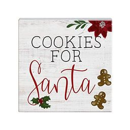 """Sincere Surroundings """"Cookies For Santa"""" Christmas Wood Sign White 5"""" x 5"""" x 1""""   Walmart (US)"""