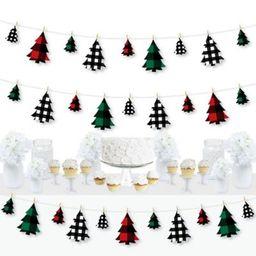 Holiday Plaid Trees - Buffalo Plaid Christmas Party DIY Decorations - Clothespin Garland Banner -...   Walmart (US)