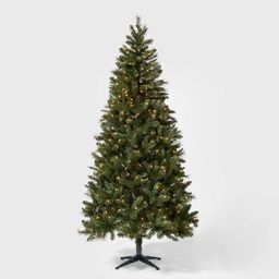 7.5ft Pre-lit Artificial Christmas Tree Douglas Fir Auto Connect Clear Lights - Wondershop™   Target