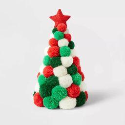Pom Pom Christmas Trees Decorative Figurine Red/White/Green - Wondershop™   Target