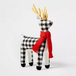 Plush Buffalo Plaid Reindeer Decorative Figurine Black/White - Wondershop™ | Target
