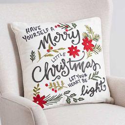 New!Merry Christmas Botanical Embroidered Pillow   Kirkland's Home