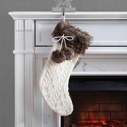 New!Cream Knit Stocking with Dark Brown Fur Cuff   Kirkland's Home