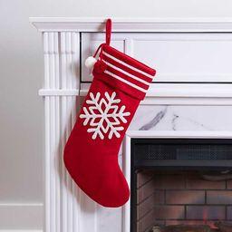 New!Red Snowflake Pom Pom Stocking   Kirkland's Home