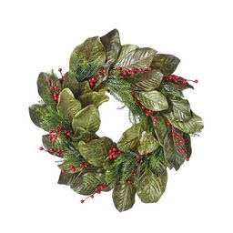 Magnolia Leaf and Berry Christmas Wreath   Kirkland's Home