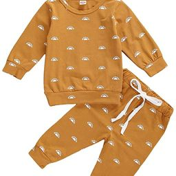 Infant Baby Boy Girl Fall Winter Clothes Outfit Solid Color Tops and Pants Kids Sweatsuit 2 Piece... | Amazon (US)
