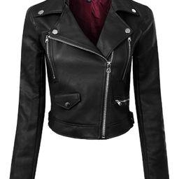 Made by Olivia Women's Long Sleeve Zipper Closure Moto Biker Faux Leather Jacket   Walmart (US)