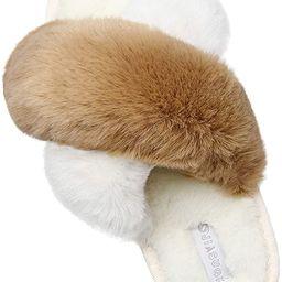 JIASUQI Cross Open Toe Fuzzy Fluffy House Slippers for Women Cozy Memory Foam Plush Criss Cross F... | Amazon (US)