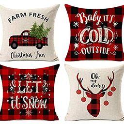 Kithomer Set of 4 Christmas Decorations Pillow Covers Christmas Buffalo Plaid Farmhouse Decor Thr... | Amazon (US)