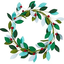 Orchid & Ivy 16-Inch Green Felt Leaf and Red Holly Berry Rustic Front Door Christmas Wreath - Mod... | Amazon (US)