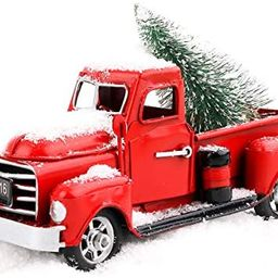 """Beewarm Vintage Red Truck Decor 6.7"""" Handcrafted Red Metal Truck Car Model for Christmas Decorati... 