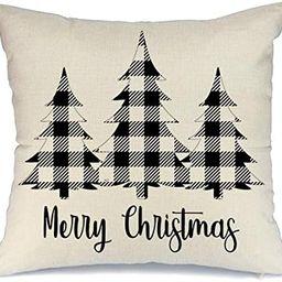 AENEY Christmas Plaid Pillow Cover 18x18 inch for Farmhouse Christmas Decor Black Buffalo Check T... | Amazon (US)