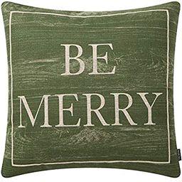 TRENDIN Xmas Pillow Cover 20 x 20 Inch for Farmhouse Christmas Decor Cotton Linen Vintage Green B... | Amazon (US)