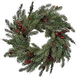 Cloris Art Christmas Wreaths for Front Door - Artificial 22 Inch Pine/Berry Decorative Wreath for... | Amazon (US)