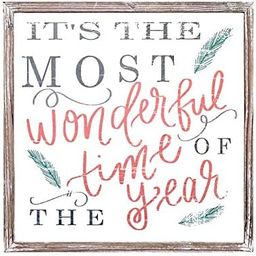 It's The Most Wonderful Time of The Year Wood Sign 18x18 Rustic Home Decor Christmas Sign Holiday... | Amazon (US)
