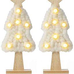 "Farmhouse Decor Mini Christmas Tree with led Light Handmade 12.2"" Living Room Decor Tabletop Cott... | Amazon (US)"