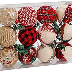BRUBAKER 12-Piece Natural Jute Christmas Ornaments - Baubles Ball Ornaments - Red & Green - 3.2 I... | Amazon (US)