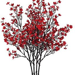 Nahuaa 4PCS Red Babys Breath Artificial Flowers Fake Silk Real Touch Floral Bouquet Home Office F... | Amazon (US)