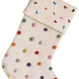 Creative Co-Op Cream Wool Felt Stocking with Pom Poms | Amazon (US)