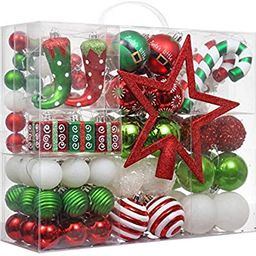 Valery Madelyn 100ct Delightful Elf Christmas Ball Ornaments with Tree Topper, Shatterproof Xmas ... | Amazon (US)