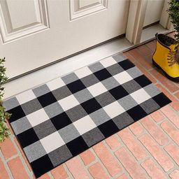 "Cotton Buffalo Plaid Rugs Black and White Checkered Rug Welcome Door Mat (17.7""x27.5"") Rug for Ki... | Walmart (US)"