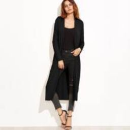 Collarless Longline Duster Coat | SHEIN
