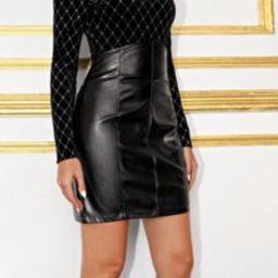 Zipper Back PU Leather Skirt | SHEIN