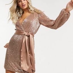Ever New sequin wrap mini dress in copper | ASOS (Global)