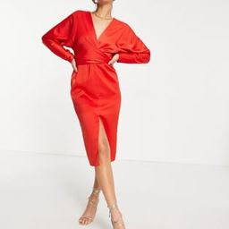 ASOS DESIGN midi dress with batwing sleeve and wrap waist in satin | ASOS (Global)